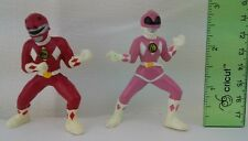 2 Mighty Morphin Power Rangers PVC Figurines Pink Red Ranger 1994