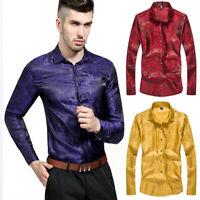 Fashion Mens' Bright Silk Casual Shirts Slim Fit Long Sleeve Floral Dress Shirts