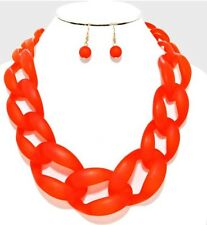 Red Acrylic Big Curb Link Chain Chunky Bib Statement Necklace Set Earrings