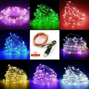 20/40/100/200 LED USB Micro Rice Wire Copper Fairy String Light Party Xmas Decor
