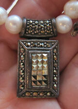 "Vintage Marcasite Necklace Sterling Statement 17"" Faux-Pearl"