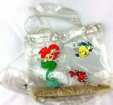 Disney's The Little Mermaid Clear Plastic Tote With Beach Sand Handbag Vintage