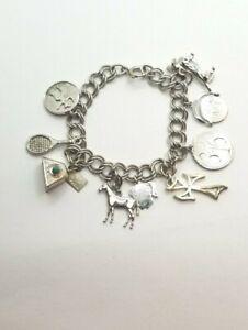 "Genuine  .925 Sterling Silver Charm Bracelet 9 Charms 7"" 25.2g"