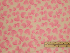 Pink Hearts on Off-White Fleece Fabric by the Yard