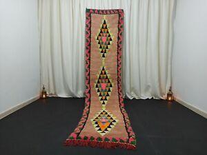 "Berber Vintage Handmade Runner Moroccan Rug 2'4""x 11' Tribal Salmon Diamond Rug"