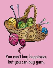 METAL FRIDGE MAGNET Can't Buy Happiness Can Buy Yarn Crochet Knit Humor Funny