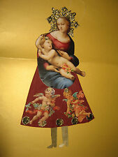 Fine Paper-Mary with Christ Child Christmas Tree Lace Glossies DRESDEN Cardboard