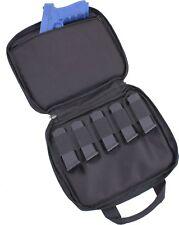 Black Double Pistol Gun & Ammo Pouch Carry Case