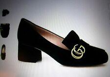 Gucci Women's Marmont GG Suede Black Shoes Pumps Size 38.5 (US 8.5)