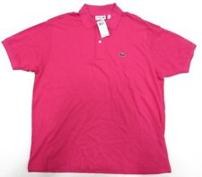 NWT LACOSTE Collared Short Sleeve Pink Polo Shirt Men's Size US XXL  FR 7