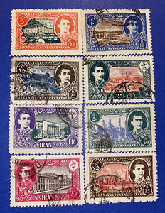 8 Middle East mStamps- Series : Pahlavi and Buildings -1949- Used