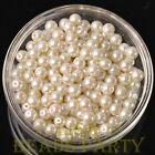 New 50pcs 6mm Round Glass Pearl Loose Spacer Beads Jewelry Making Pearl White