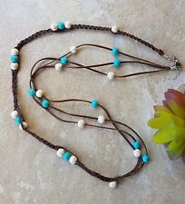 Leather and Howlite Gemstone Necklace