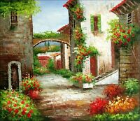 Stretched, Tuscany Italy Landscape 12, Quality Hand Painted Oil Painting 20x24in