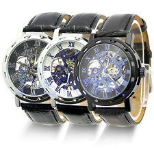 Men's Black Classic Leather Skeleton Dial Mechanical Sport Army Wrist Watch