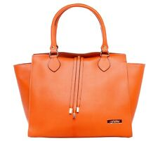 Bassira Orange Palmelato Italian Leather Tote Handbag/Office Bag/Oversize Bag/