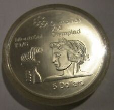 Canada Montreal Olympics 1976  Uncirculated 5 Dollar Silver Athlete with Torch