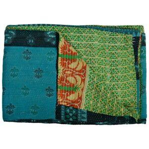 Vintage Kantha Quilts Bedspread Throw Cotton Blanket Ralli Reversible Gudari