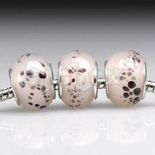 5pcs Silver Murano Glass European Beads Lampwork Big Hole Fit Bracelet LB0117