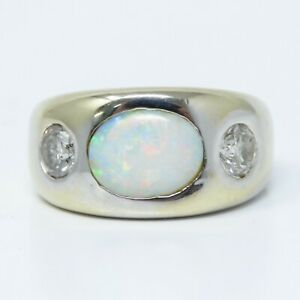 NYJEWEL 18k White Gold 1.91ctw Opal Diamond Three Stone Ring