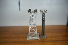 Lot of 2 Vintage Floodlight Tower - Lionel No. 395 Silver & Marx Black Metal