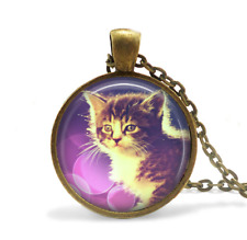 Purple Kitty Whimsical Necklace, Glass Cabochon Bronze chain Necklace