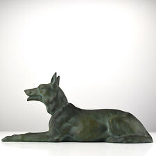 French Art Deco Cast Spelter Shepherd Dog Figurine Sculpture Verdigris Patina