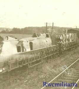 Org. Photo: Abandoned German Railway Cars w/ Luftwaffe Fw.190 Fighter Planes!!!