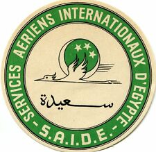 Vintage Airline Luggage Label SAIDE Services Aeriens Internationaux d'Egypte