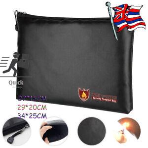 Fireproof Waterproof Document Bag  Secret File Protect Pouch Money Cash Safe Box