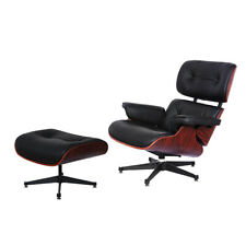 Lounge Chair and Footstool - Real Italian Leather Black - Rosewood