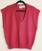 Vtg 80's Boxy Shaker Knit Sweater Vest Women Sz 40 Large Dark Pink Facts of Life