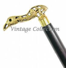 Brass Kiwi Designer Handle Black Wooden Walking Stick Vintage Antique Style Cane