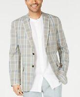 Tasso Elba Mens Suit Sport Coat Beige Size XL Gio Plaid Linen 2 Button $119 #156