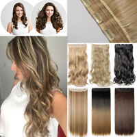 US Clip In Real as Human Hair Extensions Woman Synthetic Wedding Cosplay Pieces
