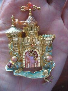 Vtg Kirks Folly Brooch Pin Gold Castle Angel Door w/Dangles Dragon Fly Glitter