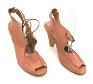 Kooba Charlie Womens Cork Heels Size US 9.5 Pink Leather Lace-up Open Toe Shoes