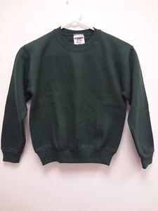 JERZEES Crewneck Long Sleeve FOREST GREEN Sweatshirt~Size YOUTH Med (10-12)~NWOT