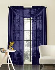 """Sheer Voile 2-Piece Navy Blue Curtain Panel Solid Window Treatment 84"""" Long New"""