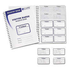 C-Line Visitor Badges with Registry Log 3 1/2 x 2 White 150/Box 97030