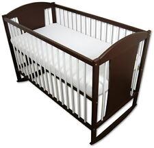 Babybett Kinderbett Wiegebett 120x60 Braun-Weiß + Matratze Eule, Neu