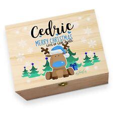 Personalised Cute Blue Reindeer Wooden Printed Christmas Eve Box