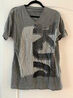 NEW Mens Calvin Klein Grey V-neck T-shirt CK Jeans Logo Small Dot Pattern Gray