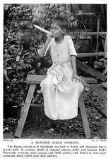 1913 Burmese Child Smoking Huge Cheroot