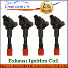 4 x Ignition Coils Honda Jazz GD GE 1.4L Civic VII 1.3L L13A1 LDA1 Exhaust Side