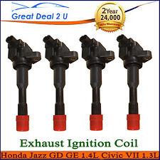 4 x Ignition Coils Honda Jazz GD GE 1.4L Civic VII 1.3L L13A1 LDA1 Exhaust Side