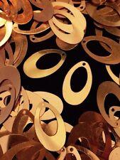 Sequins 23mm Gold Retro Teardrop Pear Hoop Oval Metallic Read Description!