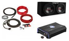 "MTX TNE212D 12"" Dual Loaded Car Subwoofers + Box + Planet Audio 1500W Amp + Kit!"
