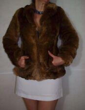 Le donne breve cappotto di pelliccia marrone elegante Lipsy London Taglia 6