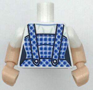 Lego New White Torso Female with Dark Blue and Bright Light Blue Gingham Dress